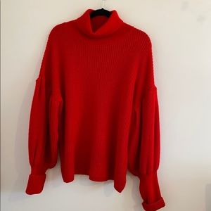 Balloon sleeve red sweater!